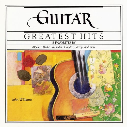 1989 John Williams - Guitar Greatest Hits (CBS Masterworks) [CBS MLK45522 / 074644552225] cover illustration by Michael Ng #albumcover
