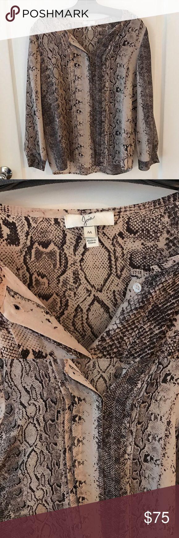Joie silk snakeskin / animal print blouse SIZE M Joie long sleeve button up silk snakeskin / animal print blouse  SIZE Medium. Joie Tops Blouses