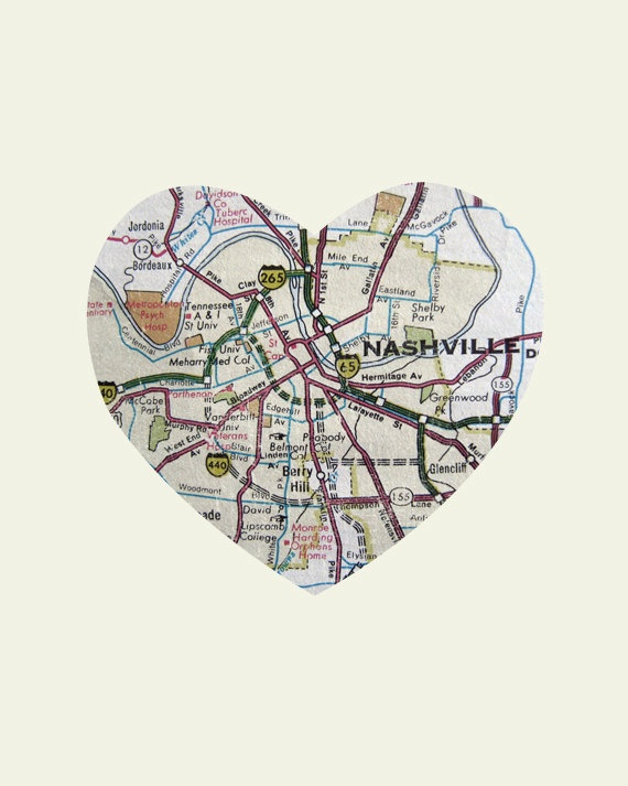 Nashville Tennessee Art City Heart Map - Wood Block Art Print. $39.00, via Etsy.