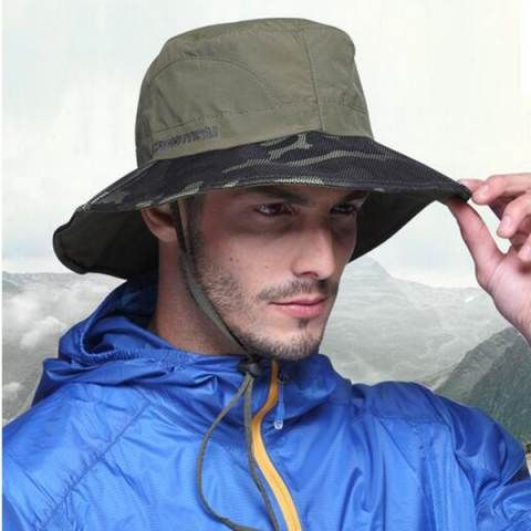 Mens camo sun bucket hat with string UV protection summer fishing hats