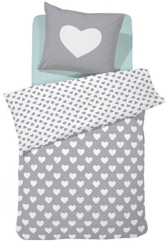 Damai Hearts - Kinderdekbedovertrek - Eenpersoons - 120 x 150 cm - Grey