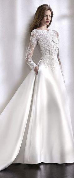 Elegant Tulle & Satin Bateau Neckline A-Line Wedding Dress With Lace Appliques & Beadings & Pockets #weddingdress