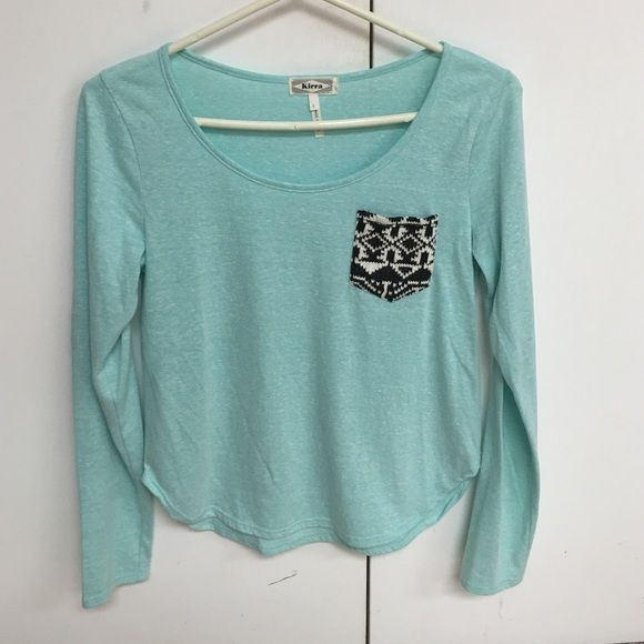 LS turquoise shirt New without tags! Decorated pocket, the sides come up so it shows a little stomach (or more like hips), super comfy! Kirra Tops Tees - Long Sleeve