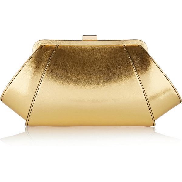 ZAC Zac Posen Posen metallic leather clutch (1,750 SVC) ❤ liked on Polyvore featuring bags, handbags, clutches, accessories, bolsas, gold, leather purse, clasp purse, genuine leather purse and metallic handbags