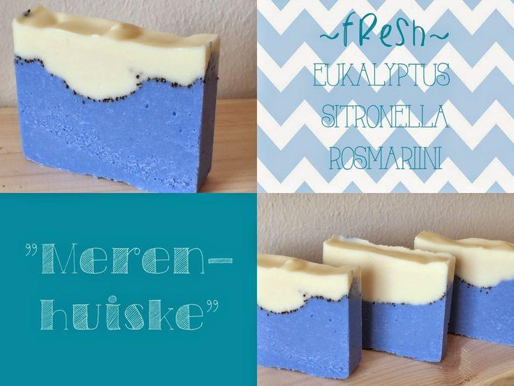 Merenhuiske - raikas rosmariinisaippua. ultramariini väriaineena. cold process soap