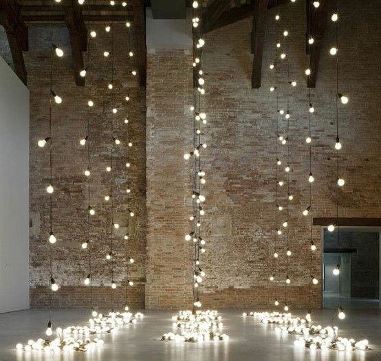 Attach String Lights To Wall : vertical cafe lights (along the brick wall or in the corners?) Wedding planning Pinterest ...