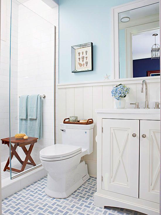 Blue and white cottage bathroom ideas the gap smooth for Small coastal bathroom ideas