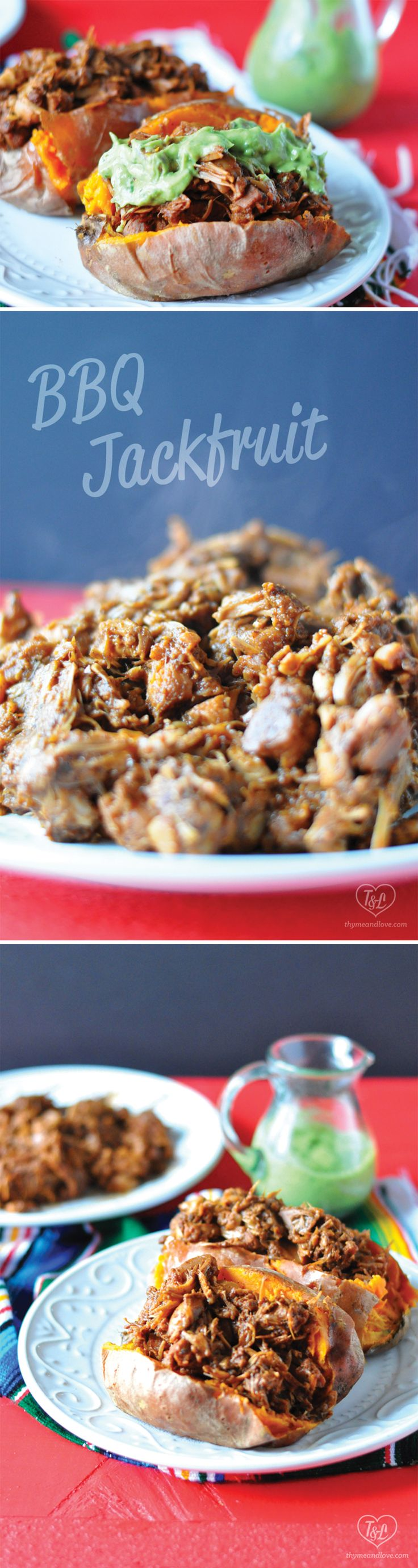 Slow Cooker BBQ Jackfruit served over baked sweet potatoes with an avocado crema…