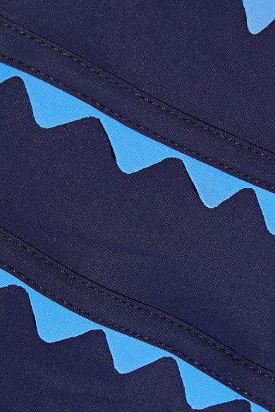 Karla Colletto - New Wave Appliquéd Cutout Swimsuit - Storm blue - US