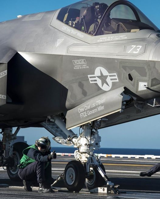 F-35B Lightning II being prepared for a catapult launch