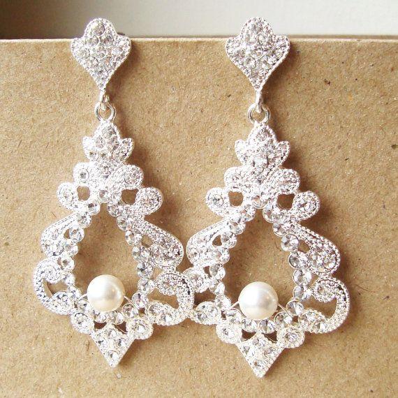 Bridal Earrings Chandelier Earrings Vintage Wedding by luxedeluxe, $69.00