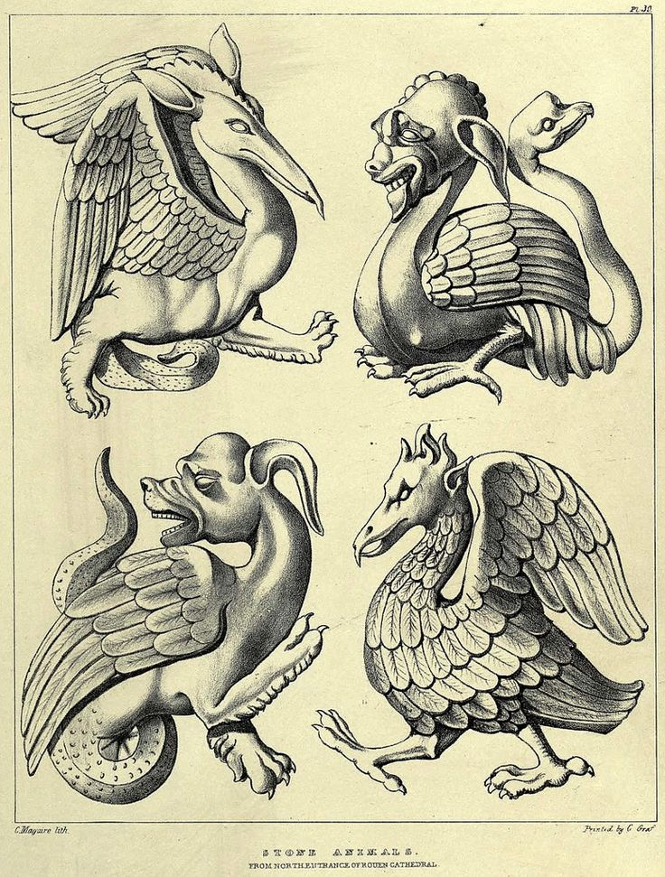 Fabulous beasts and chimeras. Medieval revival sculptural motifs from Rouen cathedral, France. Seemingly conceived by Augustus Pugin, 1854. Lithograph by C. Maguire.