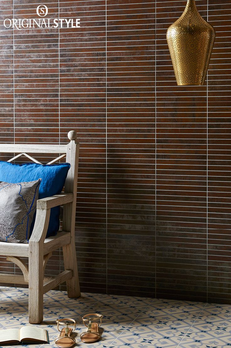 Metallic Copper Linear Mosaic from the Tileworks range by Original Style.