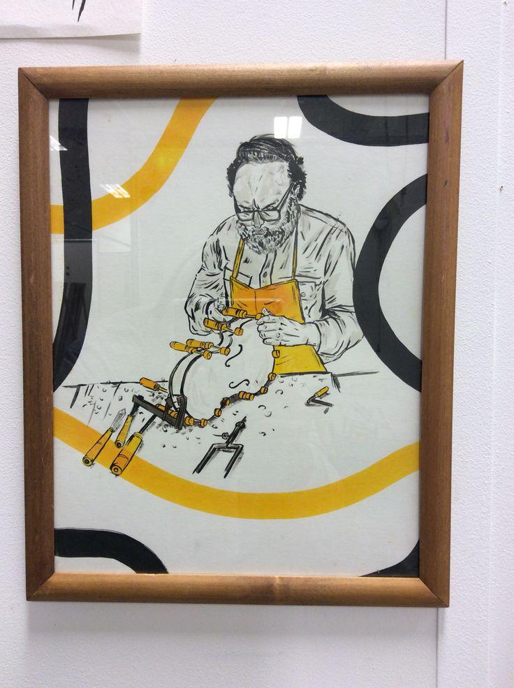Ink on water colour , framed , violin maker