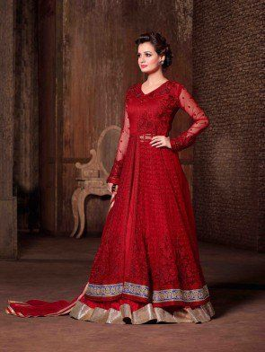 Red Net Designer Suit with Embroidery Work