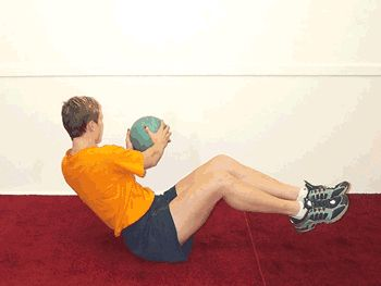 Balancing Seated Twist with Medicine Ball Exercise Demonstration
