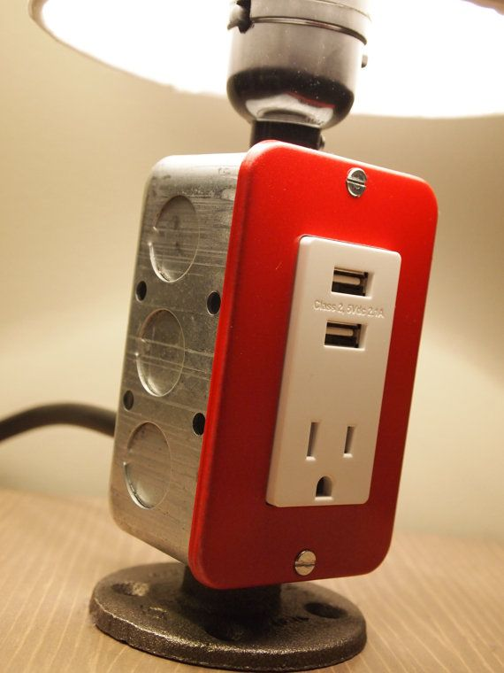 MINI Table or Desk lamp with USB charging station by BossLamps, $68.50 #DIY industrial, man cave, office
