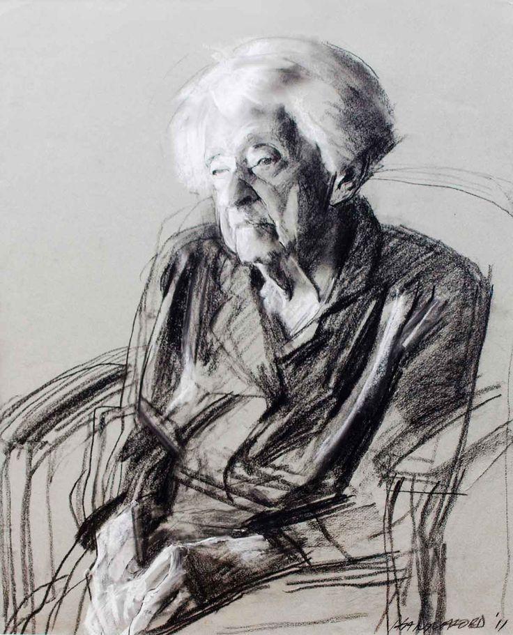 "Robert Hannaford. ""Puss"" Muriel Sandicock aged 102. charcoal and chalk 2011"