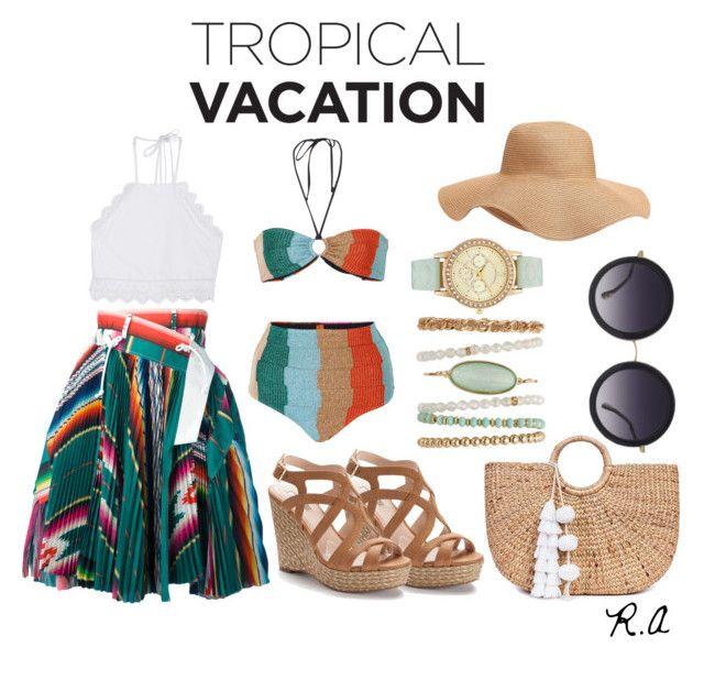 Tropical Vacation by ratihasmarani on Polyvore featuring Front Row Shop, Sacai, Missoni Mare, Jennifer Lopez, JADE TRIBE, Alice + Olivia, Old Navy, skirt, beach and bikini