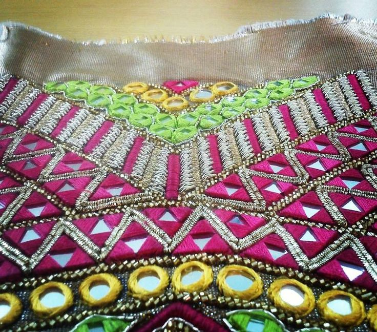 Mirror work mixed with multi coloured resham embroidery and hand embellishments  A blouse in making by Abhilasha & Abhishek