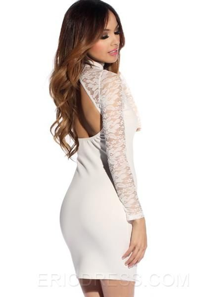 Comfortable Lace Hollow Long Sleeve Backless Bodycon Dress ,lady's sexy white dress online