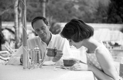 Audrey Hepburn and Mel Ferrer drinking tea at the Bel Air Hotel photographed by Richard Miller, 1957. #celebrities #tea