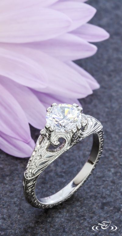 Hand Engraved Vintage Style Engagement Ring. Green Lake Jewelry