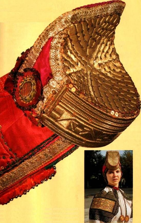 """""""Soroka"""" is a ceremony headdress of a peasant woman from Biruchensk Region, Voronezh Province, Russia. Early 20th century. Originally these grew from the shaman cultures, maidens were not allowed to wear them, mothers wore them with smaller horns and the grandmothers wore the largest horns. When Christian religion came, they destroyed the shaman cultures and gave the power to the maiden, thus the wedding headdress symbolically means a loss of personal power as a female in community and city."""