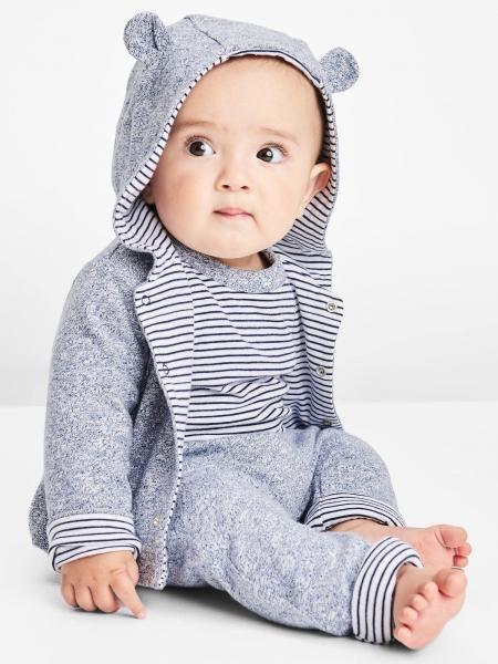 Gap嬰兒布萊納小熊刺繡正反兩穿小熊造型連帽衛衣 - Gap臺灣在線商店