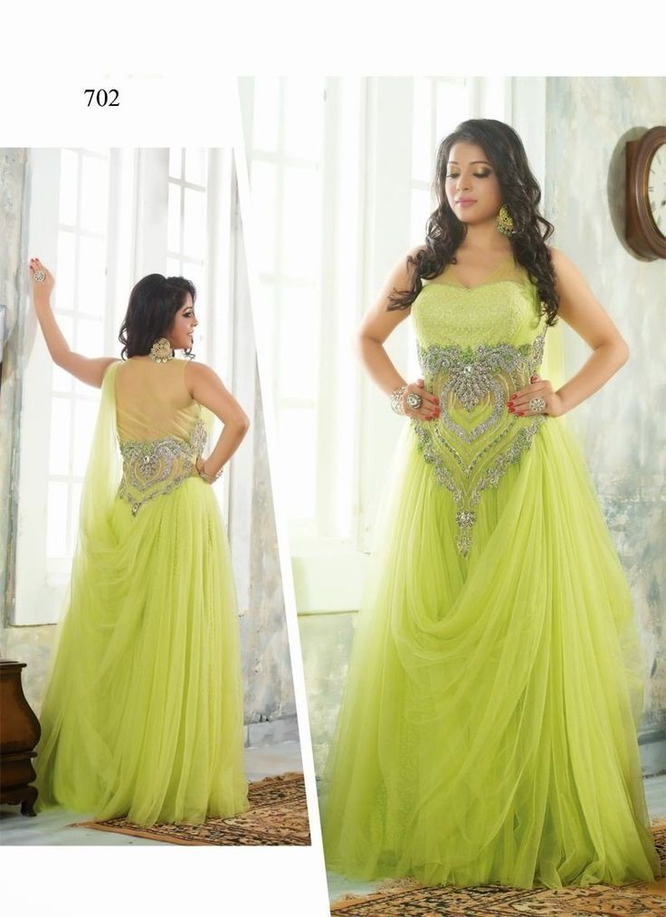 Green Net Long Gown With Work. Order Your Long Gown Online and Get your Long Gown in 10 Days at your door step.
