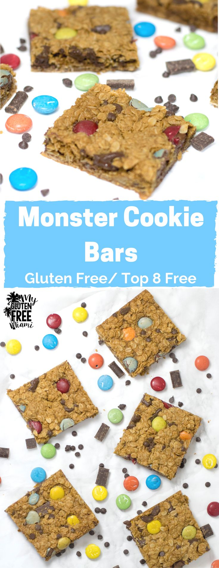 Chewy and packed full of chocolate, these Top 8 Allergen Free Monster Cookie Bars are going to be a hit with everyone! via @GLUTENFREEMIAMI