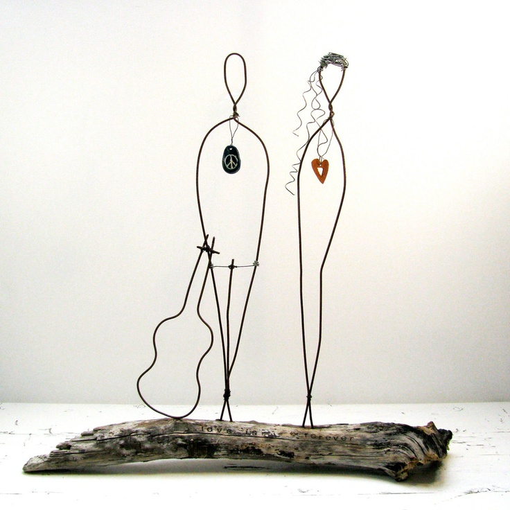 Wedding Gift Wire Sculpture on Driftwood Rustic Anniversary Gift ...