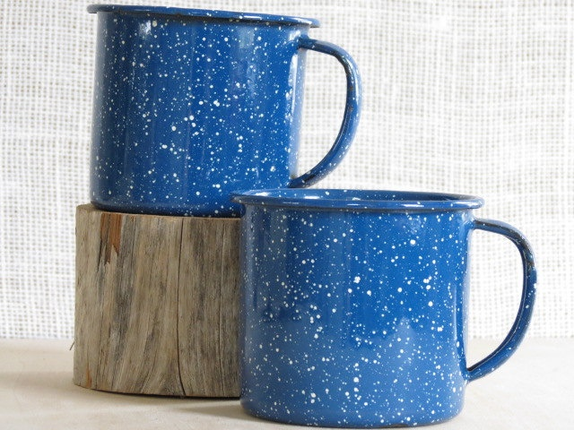 Pair of Blue Speckled Enameled Coffee Cups / Camping / Enamelware. $8.00, via Etsy.