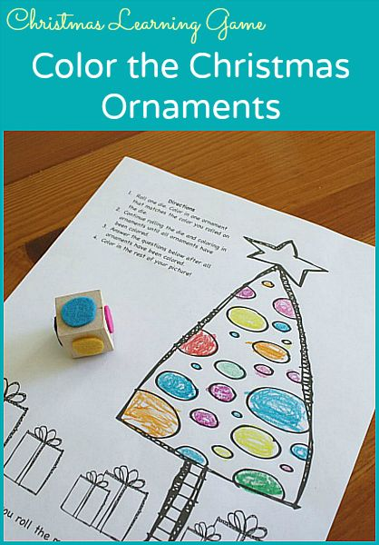 Practice counting and comparing numbers with this free printable Christmas game for kids: Color the Christmas Ornaments~ Buggy and Buddy