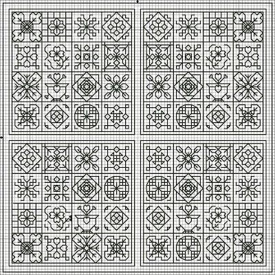 Flowers in the Garden - Lee Albrecht: Free blackwork pattern