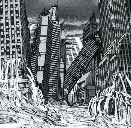 The destruction of neo-Tokyo in 'Akira'  by Katushiro Otomo