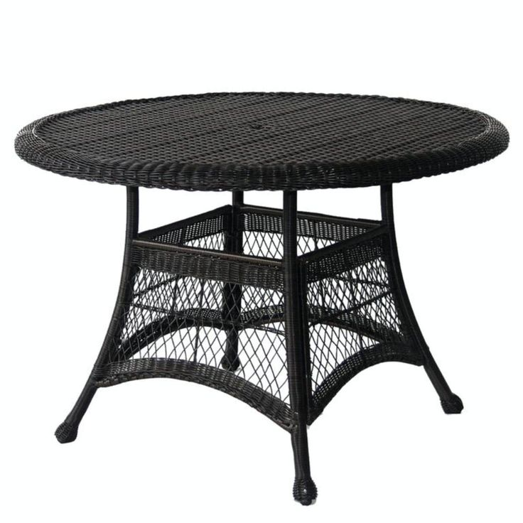 44.5 Black Resin Wicker Weather Resistant All Season Outdoor Patio Dining  Table, Patio Furniture