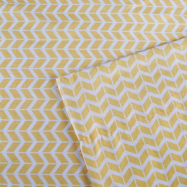 Intelligent Design Chevron Sheets, Yellow Twin Xl