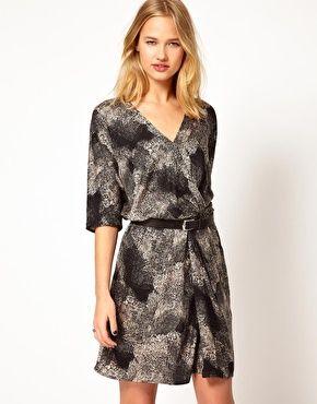 Enlarge Selected Paint Wrap Dress in Print