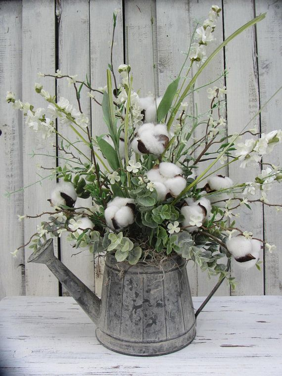 All Year Decor Cotton Ball Table Arrangement Cotton Ball Decor Cotton Boll Decor Cotton Boll Decor Cotton Decor Flower Arrangements Diy