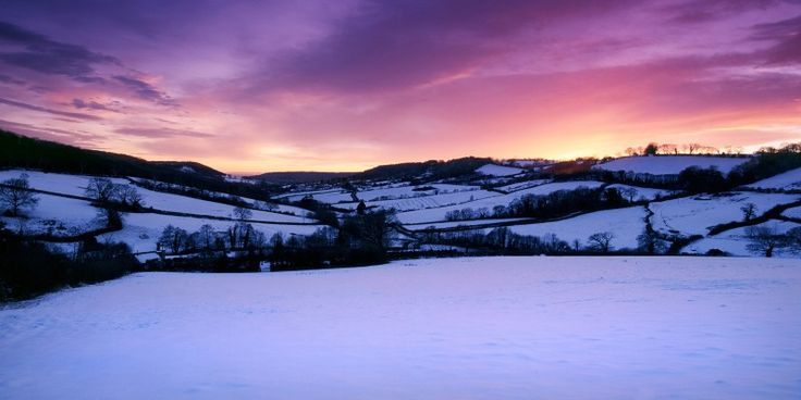 Sunset over snow covered East Devon, mid-winter
