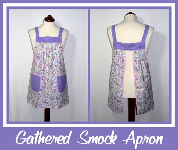 I can't stop making this style of apron!  (The last 6 aprons I've added to my shop have been made using my newly drafted Gathered Smock Apron pattern.)  I love the comfortable, loose, easy-fit style...    Gathered Smock Apron  French Bouquet  PLUS SIZE by LauriesGiftsBiz, $40.00