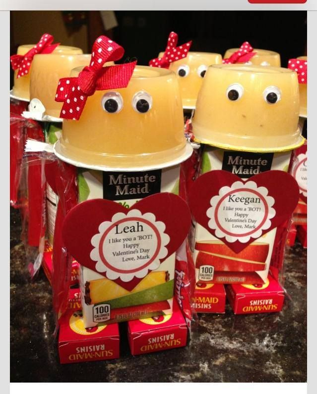 Cute Valentine gifts: Applesauce, Juice Box, Raisins, Ribbon for bow, Fake small eyes, Hot Glue gun, Red and white paper