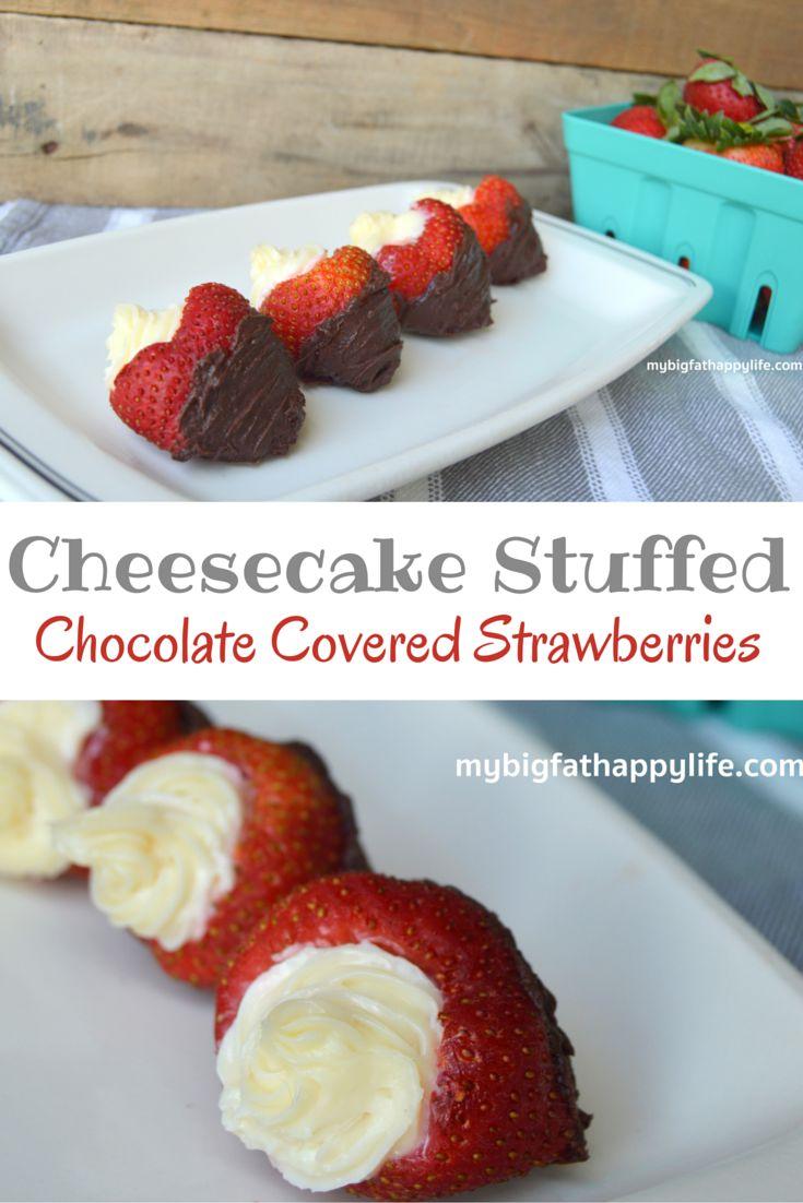 Cheesecake Stuffed Chocolate Covered Strawberries | mybigfathappylife.com