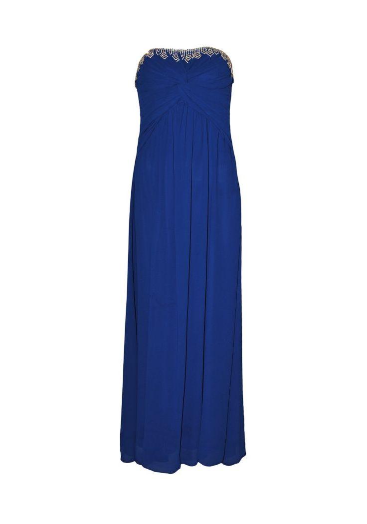 229€ | vestido de fiesta que fácil de llevar que hará sentirte especial | Vestido largo en tejido tipo gasa de licra, palabra de honor | ENEEFE Online  #moda #mujer #vestidos #fiesta