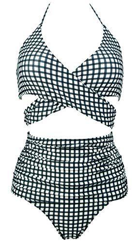 e073edeaeb COCOSHIP Women's Ruching High Waist Bikini Set Cross Wrap Push up Top Tie  Back Bathing Swimsuit