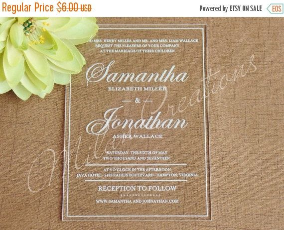 ON SALE Acrylic Wedding Invitations in Clear Engraved Plexiglass 5x7 ...