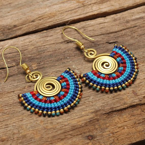 Shaped brass and woven cotton tribal earrings in por cafeandshiraz