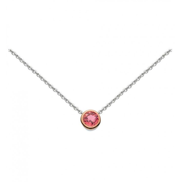 Simmer Rose Gold and Pink Tourmaline Necklace 18""