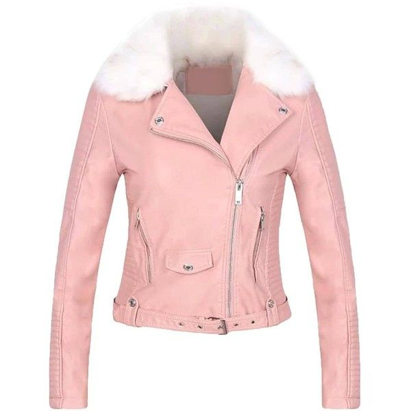 Yoins Yoins Pink Leather Biker Jacket found on Polyvore featuring polyvore, women's fashion, clothing, outerwear, jackets, coats & jackets, pink, moto jacket, motorcycle jacket and pink moto jacket